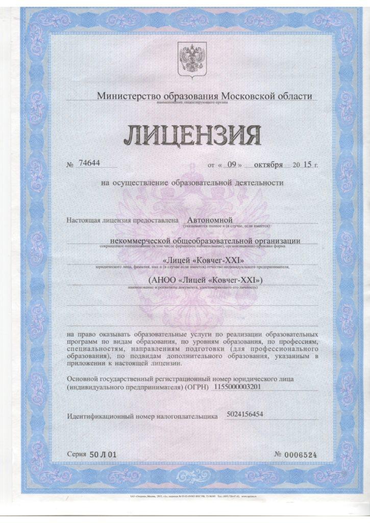 Лицензия Ковчег XXI