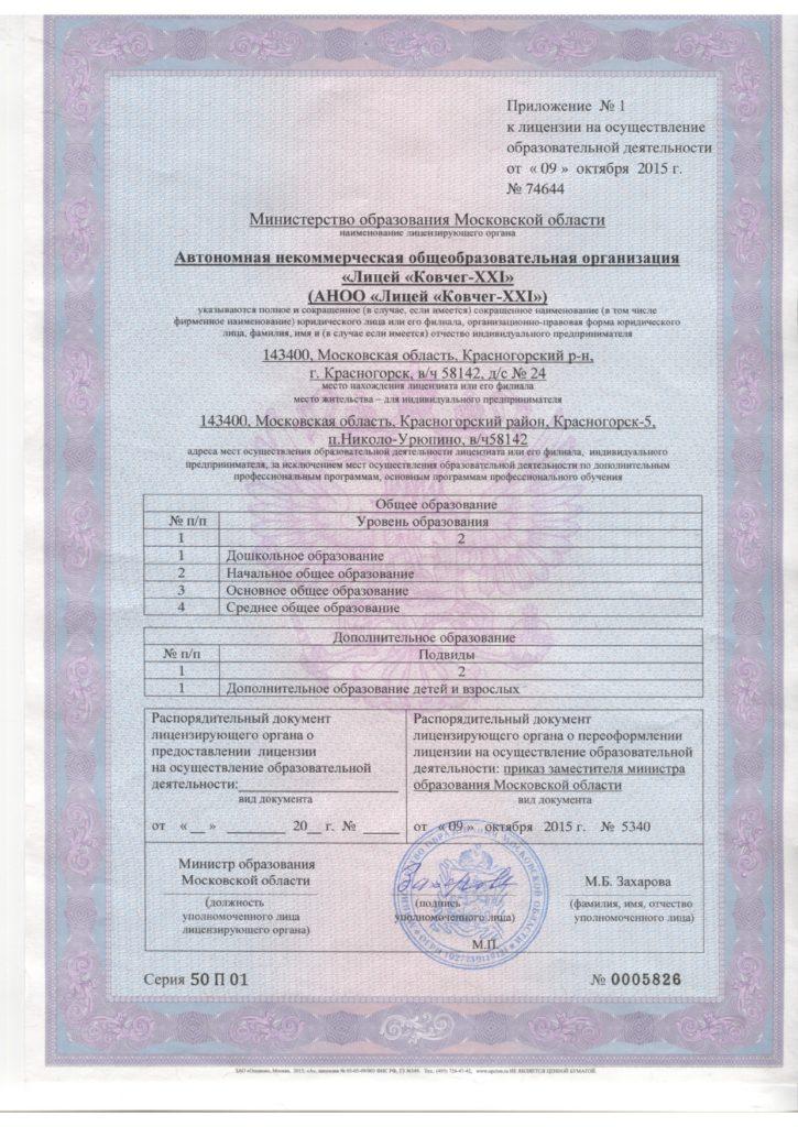 Лицензия Лицей Ковчег-XXI